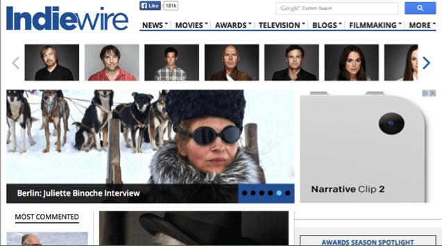 La home page del sito IndieWire