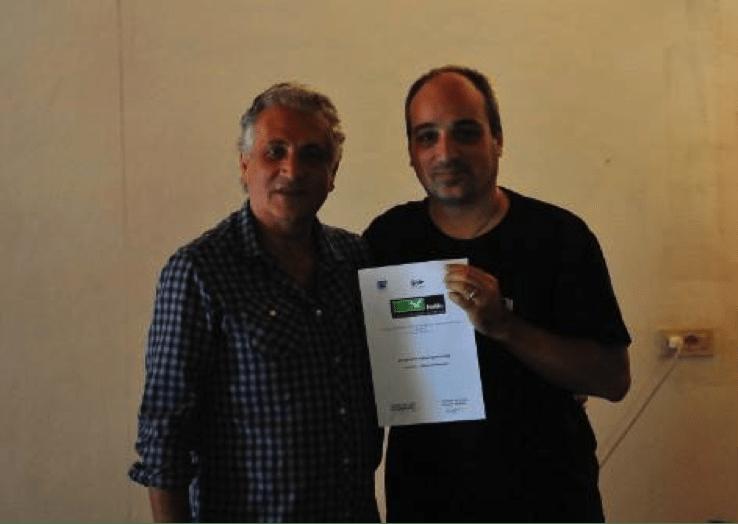 Il regista Giuseppe Ferlito ed Ettore Di Gennaro alla consegna degli attestati del XII STAGE Fedic