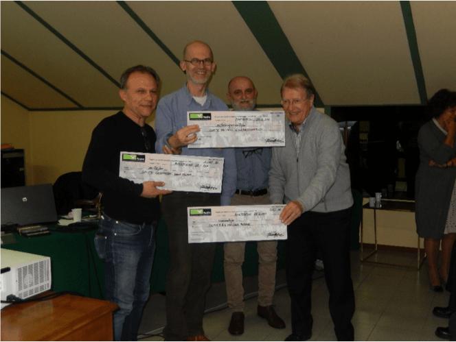 I vincitori del Premio ai Cineclub. Da sx Lorenzo Caravello, Sergio Brunetti Roberto Merlino, Rolf Mandolesi (foto G. Sabbatini)