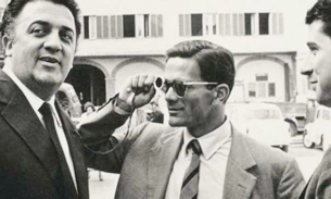 Pier Paolo Pasolini insieme a Federico Fellini